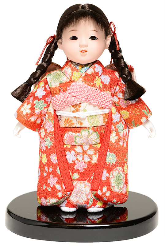 【雛人形】【ひな人形】【市松人形】6号 木目込チリメン衣装市松:京華作【木目込市松人形】【浮世人形】