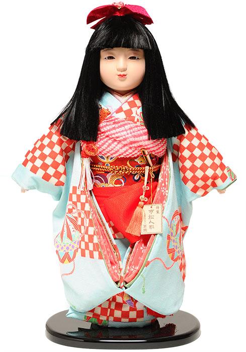 【市松人形】13号市松人形:綸子衣装【おかっぱにリボン】:翠華作【ひな人形】【浮世人形】
