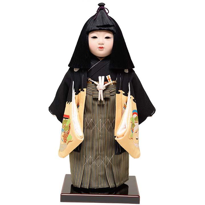 【雛人形】【市松人形】11号男市松人形:正絹別染手縫衣裳:元賀 章介作【ひな人形】【浮世人形】