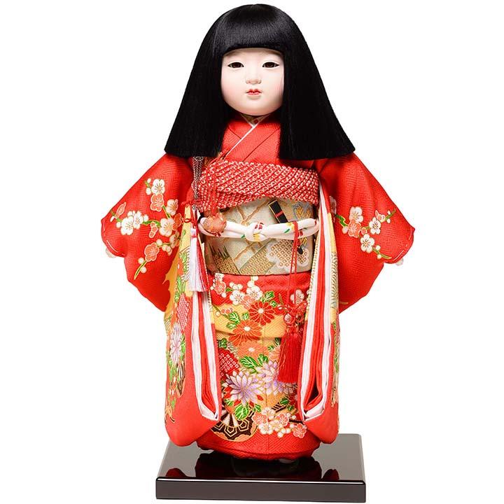 【雛人形】【市松人形】11号市松人形:正絹別染手縫衣裳【オカッパ】:元賀 章介作【ひな人形】【浮世人形】