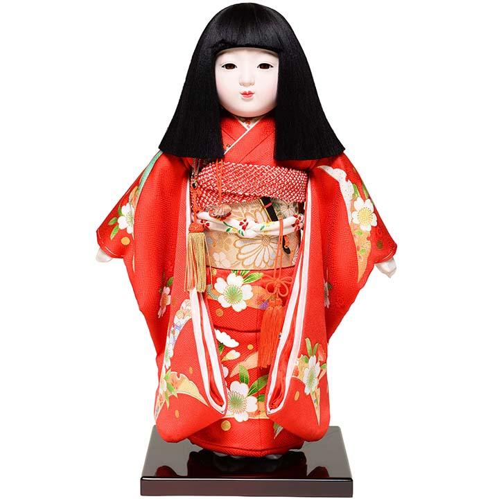 【雛人形】【市松人形】12号市松:正絹京染手縫い衣裳:元賀章介作:元賀 章介作【ひな人形】【浮世人形】