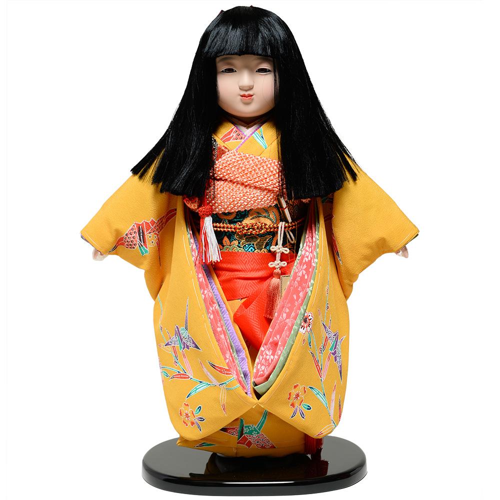 【ひな人形】【市松人形】13号市松人形:西陣織【オカッパにリボン】:翠華作【浮世人形】