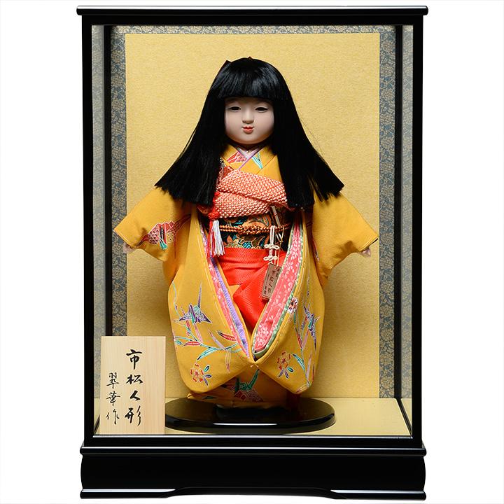 【ひな人形】【市松人形】13号市松人形:西陣織【オカッパにリボン】:翠華作  ケース入り【浮世人形】