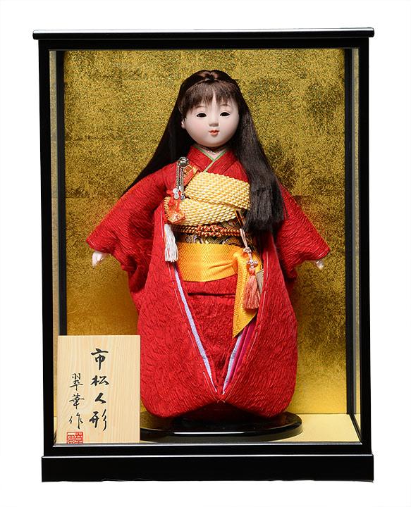 【ひな人形】【市松人形】市松人形10号市松人形:膨れ織お衣裳:翠泉作:ケース入り【膨れ織市松人形】【浮世人形】