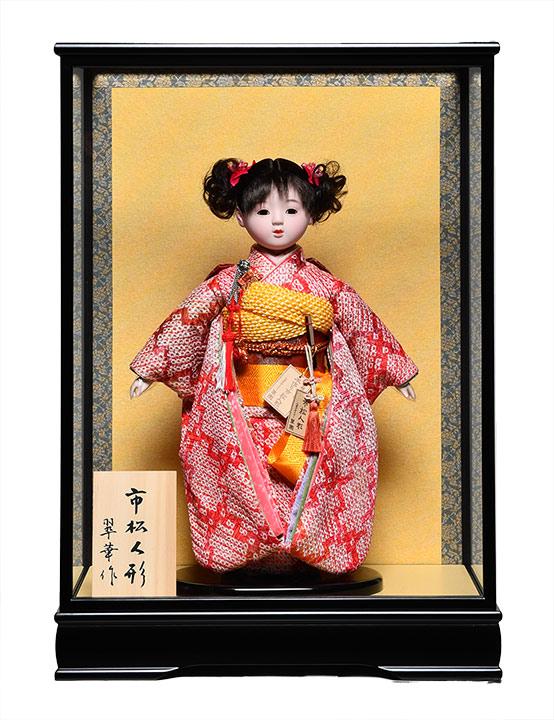 【ひな人形】【市松人形】市松人形10号市松人形:総絞お衣裳:翠華作:ケース入【有松絞市松人形】【浮世人形】