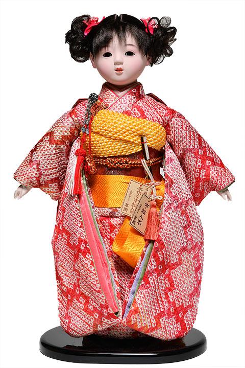 【ひな人形】【市松人形】市松人形10号市松人形:総絞お衣裳:翠華作【有松絞市松人形】【浮世人形】
