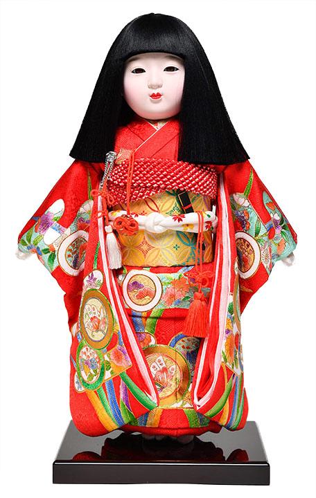 【ひな人形】【市松人形】市松人形10号市松人形:正絹別染霞に紋柄:元賀章介作【元賀章介】【本仕立市松】
