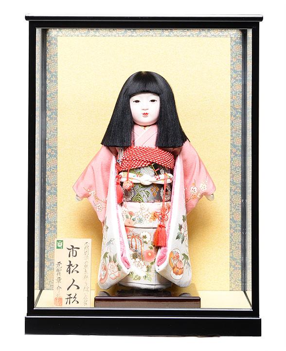 【ひな人形】【市松人形】市松人形10号市松人形:正絹別染貝桶に牡丹柄:元賀章介作;ケース入【元賀章介】【本仕立市松】