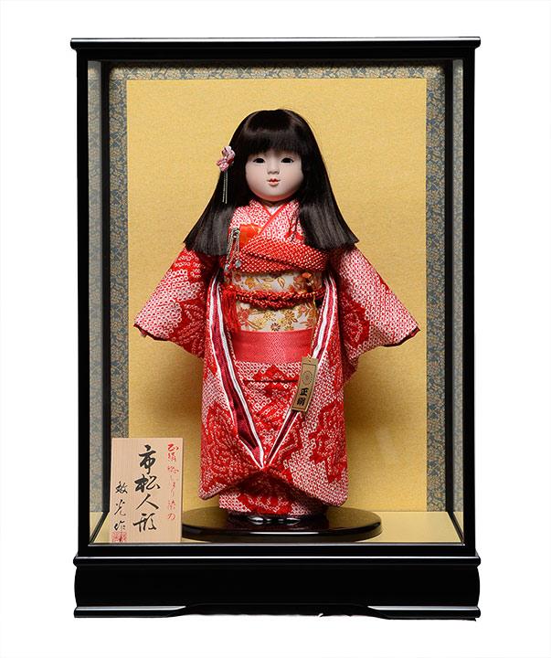【市松人形】市松人形13号市松人形:正絹有松絞り衣裳:ケース入【リボン三段カット】:敏光作【ひな人形】【浮世人形】