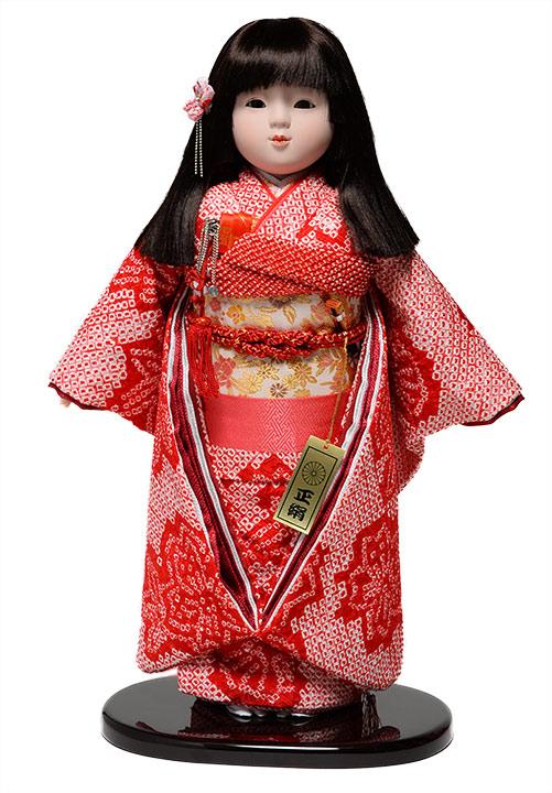 【市松人形】市松人形13号市松人形:正絹有松絞り衣裳【リボン三段カット】:敏光作【ひな人形】【浮世人形】