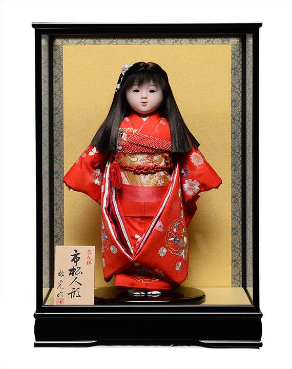 【市松人形】市松人形13号市松人形:雪輪に桜刺繍衣裳:ケース入【横縛りリボン】:敏光作【ひな人形】【浮世人形】
