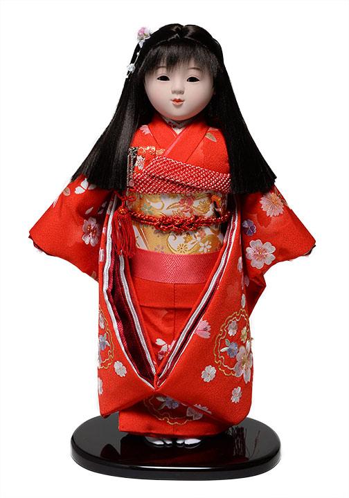 【市松人形】市松人形13号市松人形:雪輪に桜刺繍衣裳【横縛りリボン】:敏光作【ひな人形】【浮世人形】