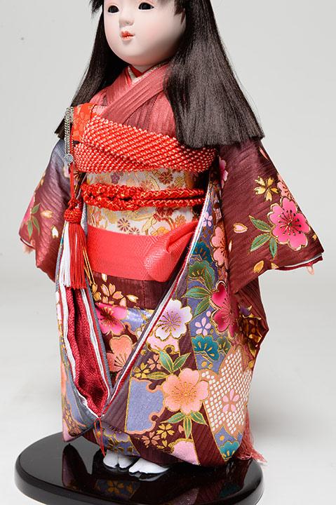 【ひな人形】【市松人形】市松人形10号市松人形:金彩桜柄衣装:敏光作:ケース入【木目込市松人形】【浮世人形】