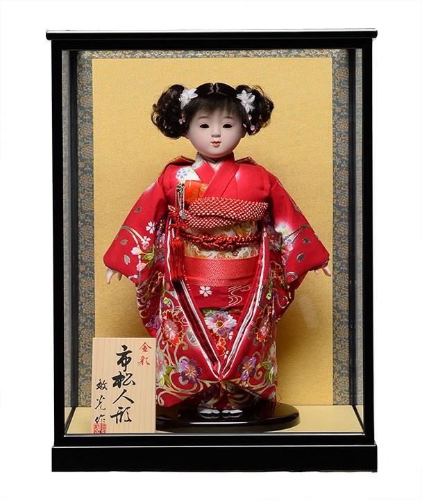 【ひな人形】【市松人形】市松人形10号市松人形:金彩桜刺繍衣装:敏光作:ケース入【木目込市松人形】【浮世人形】