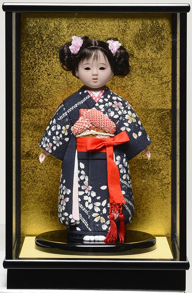 【市松人形】8号 木目込市松:草園作:ケース入 【ひな人形】【浮世人形】