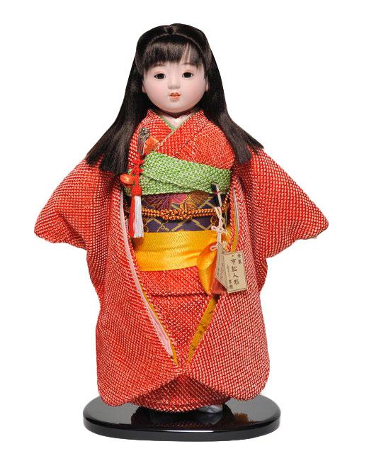 【ひな人形】【市松人形】市松人形13号市松人形:正絹鹿の子絞り衣裳:翠華作【木目込市松人形】【浮世人形】
