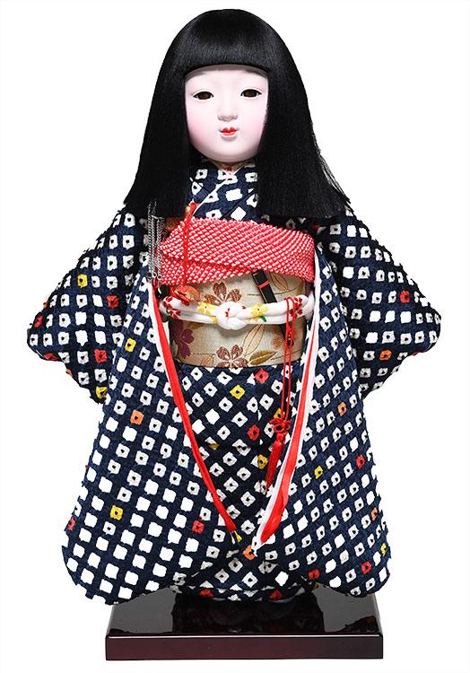 【ひな人形】【市松人形】市松人形12号京市松:正絹着尺絞り手縫い衣裳:元賀章介作【元賀章介】【本仕立市松】
