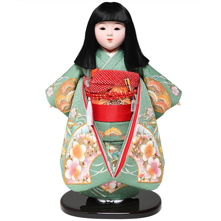 【ひな人形】【市松人形】13号市松:京友禅金彩刺繍衣裳:松寿作【浮世人形】