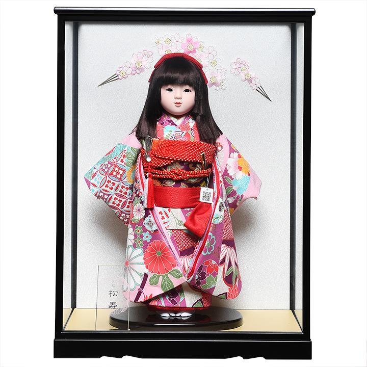 【市松人形】13号市松:京友禅衣裳:松寿作 ケース入り【ひな人形】【浮世人形】