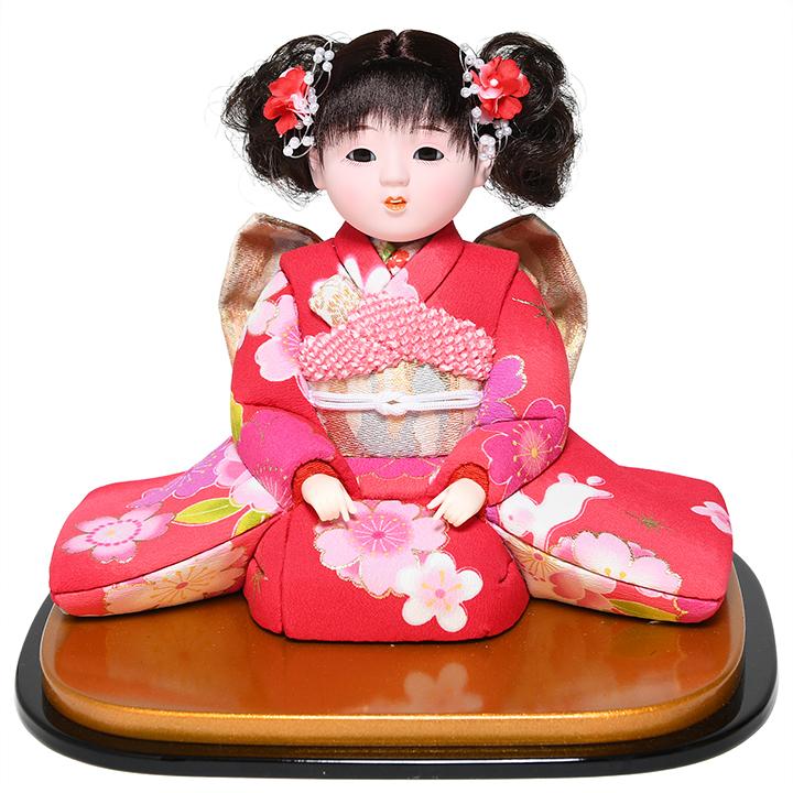 【雛人形】【ひな人形】【市松人形】6号座り木目込市松人形:着尺友禅:京華作【木目込市松人形】【浮世人形】