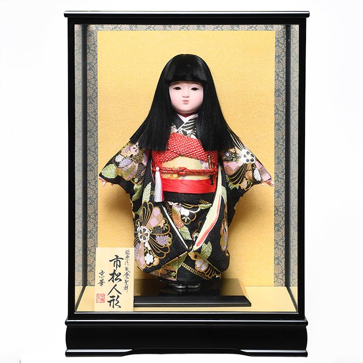 【市松人形】12号市松人形:金彩衣裳(オカッパ):京華作:ケース入り【ひな人形】【浮世人形】