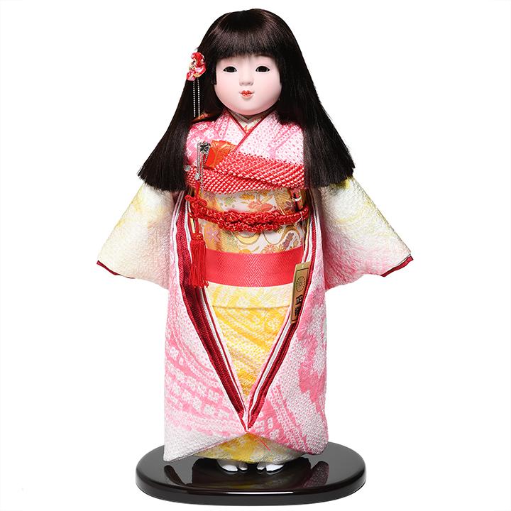 【ひな人形】【市松人形】13号市松人形:正絹総絞染衣装:敏光作【木目込市松人形】【浮世人形】