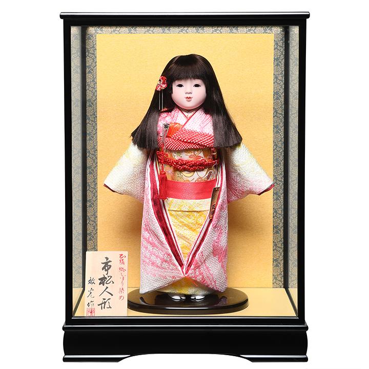【ひな人形】【市松人形】13号市松人形:正絹総絞染衣装:敏光作:ケース入り【木目込市松人形】【浮世人形】