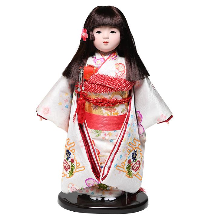 【ひな人形】【市松人形】10号市松人形:金駒刺繍正絹衣装:敏光作【浮世人形】