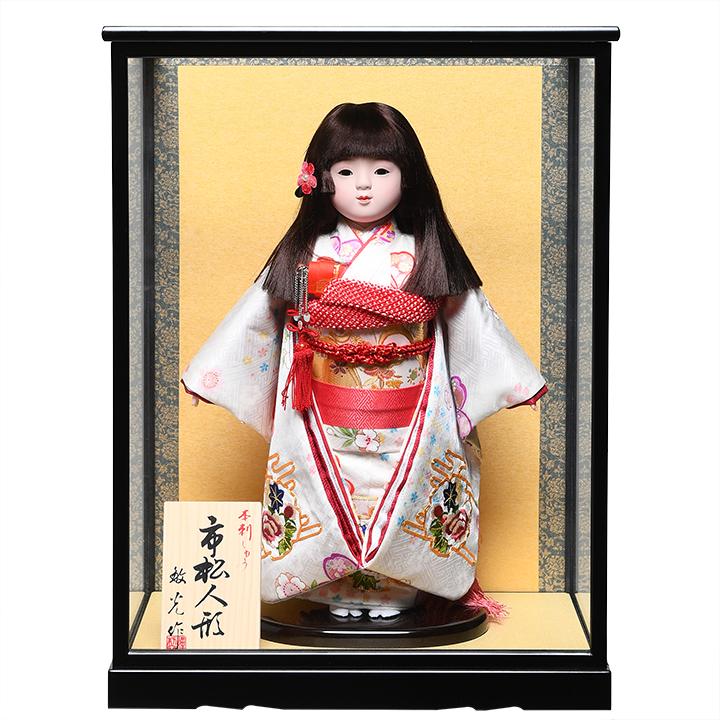 【ひな人形】【市松人形】10号市松人形:金駒刺繍正絹衣装:敏光作:ケース入り【浮世人形】