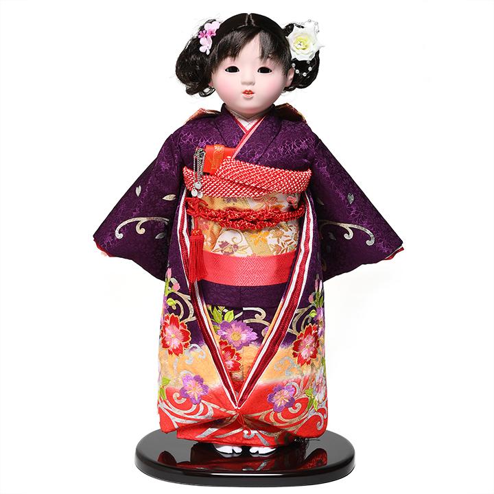 【市松人形】13号市松人形:正絹桜柄本刺繍衣装:敏光作【ひな人形】【浮世人形】