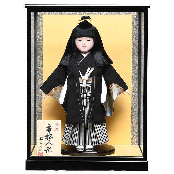 【ひな人形】【市松人形】10号市松人形:金彩袴姿:敏光作:ケース入り【浮世人形】
