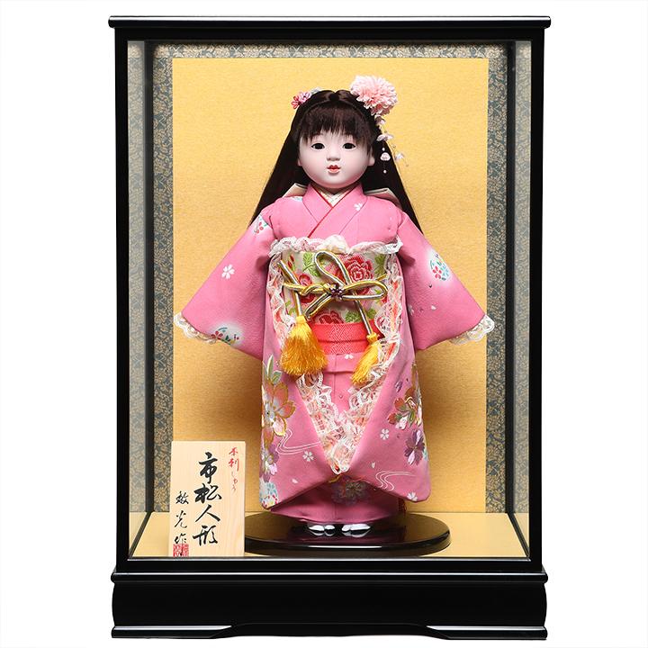 【市松人形】13号市松人形:桜刺繍クリスタル衣装:敏光作:ケース入り【ひな人形】【浮世人形】