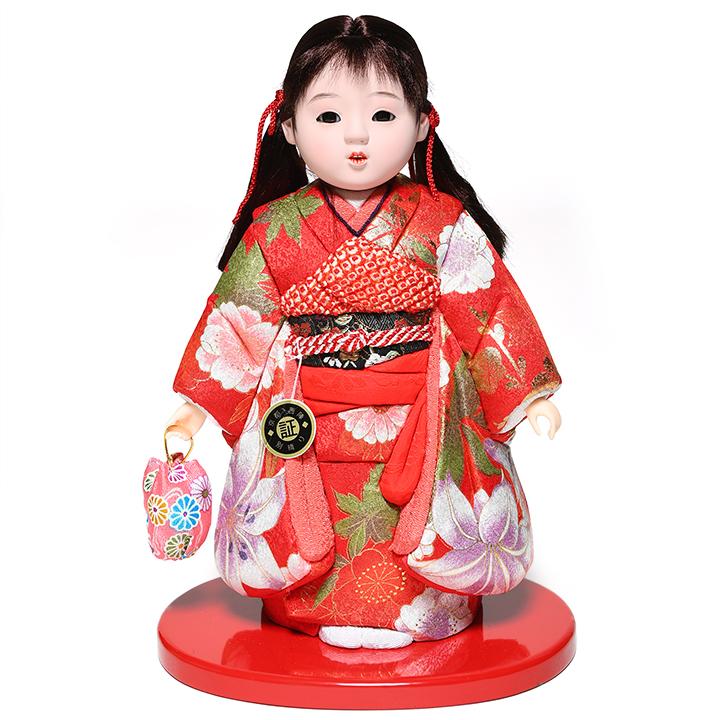 【木目込市松】【市松人形】7号 木目込京都西陣織金彩衣装市松:芳俊作【ひな人形】【浮世人形】