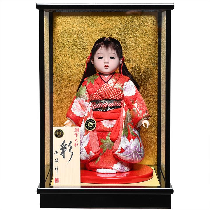 【木目込市松】【市松人形】7号 木目込京都西陣織金彩衣装市松:芳俊作:ケース入り【ひな人形】【浮世人形】