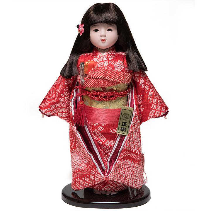 【ひな人形】【市松人形】10号市松人形:正絹有松絞り衣装:敏光作【浮世人形】