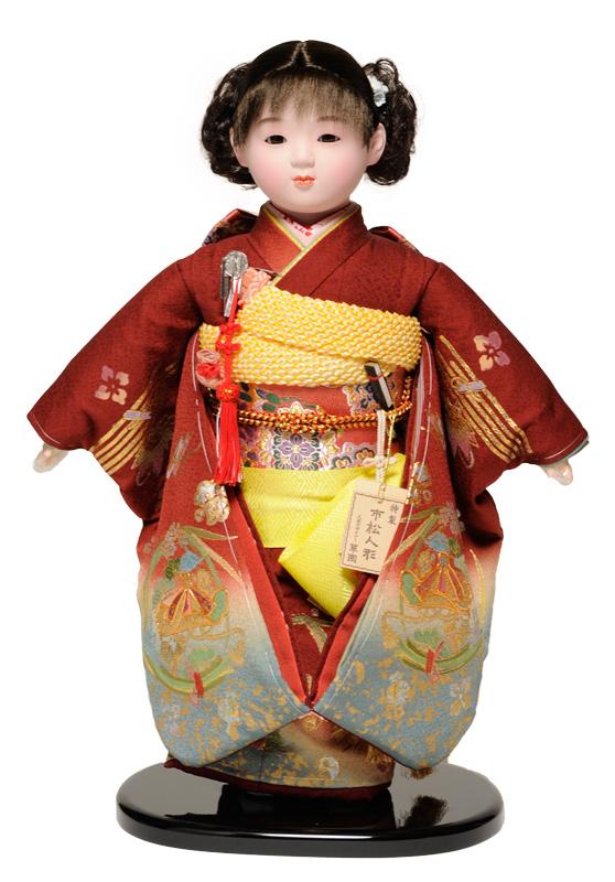 【市松人形】13号市松人形 正絹金彩刺繍衣裳【カール】 翠華作【ひな人形】【浮世人形】