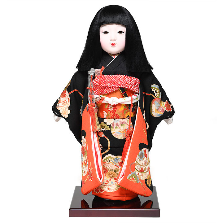 【元賀章介】【ひな人形】【市松人形】12号市松:正絹別染手鞠に菊柄衣装:元賀章介作【浮世人形】