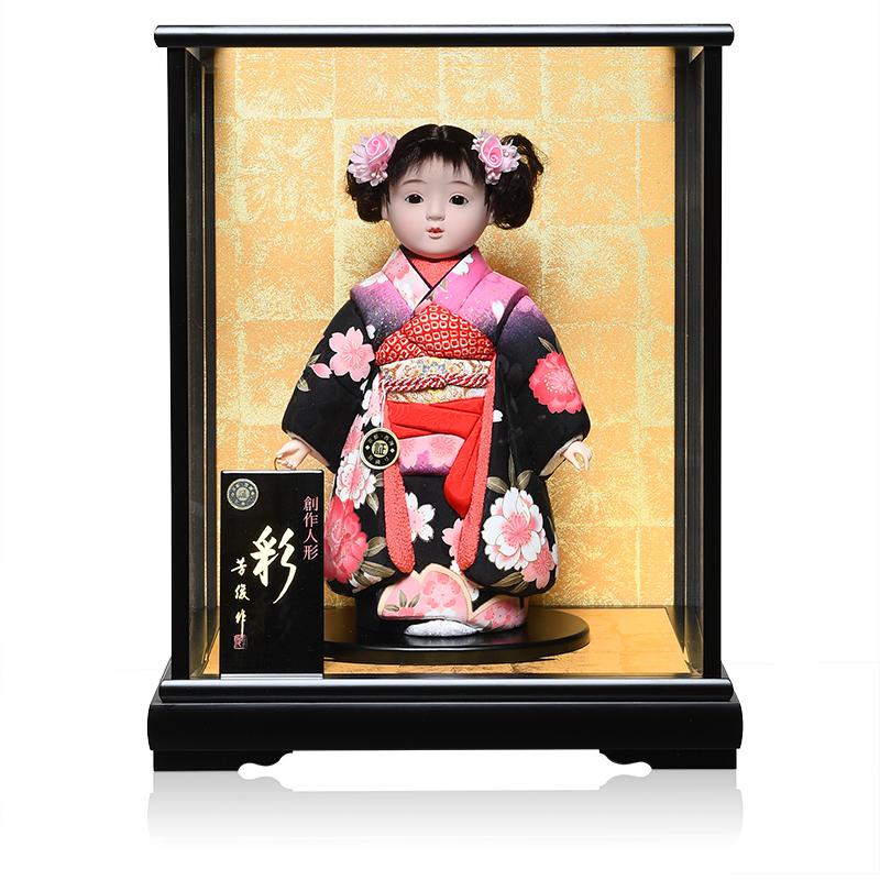 【市松人形】9号彩 木目込市松:芳俊作:ケース入り【ひな人形】【浮世人形】