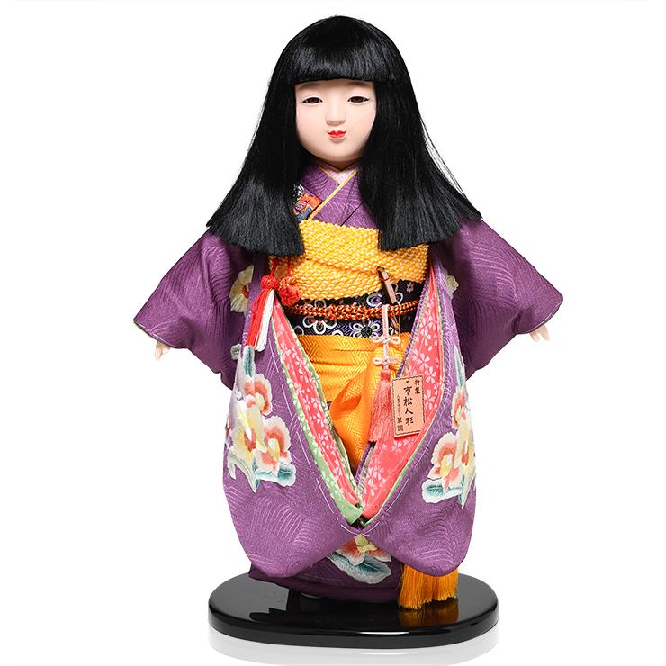【市松人形】13号市松人形:正絹汕頭刺繍衣裳【おかっぱ】:小倉草園作【ひな人形】【浮世人形】