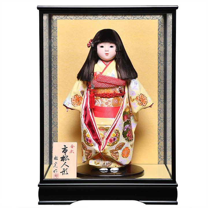 セットアップ 新色 日本全国送料 手数料無料 全品価格保証 市松人形 浮世人形 13号市松金彩桜柄衣裳:敏光作:ケース入り ひな人形