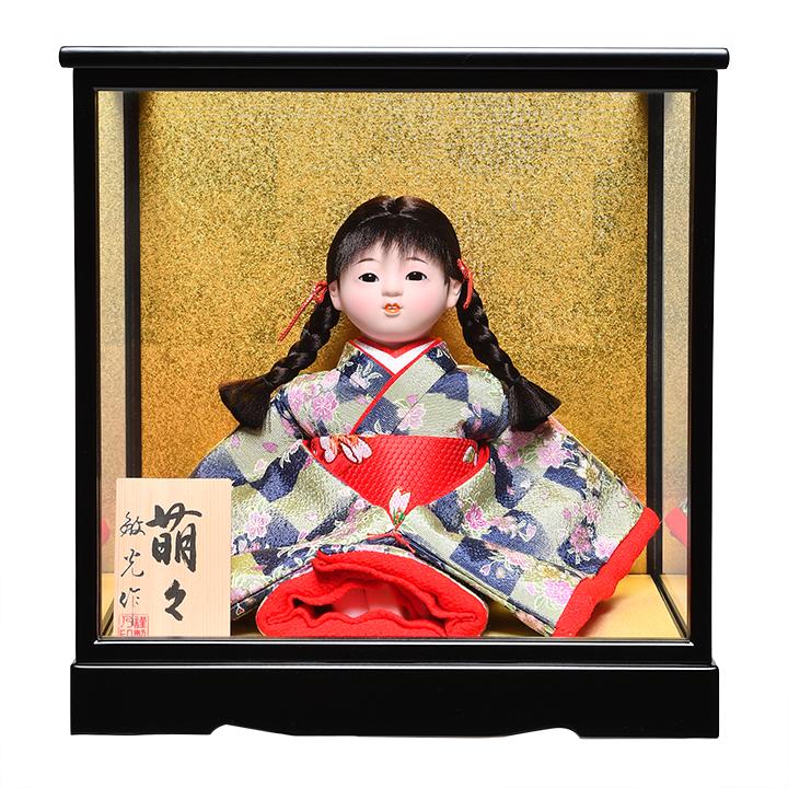 日本全国送料 手数料無料 全品価格保証 激安格安割引情報満載 ひな人形 市松人形 :敏光作:ケース入り 萌々 チリメン衣装 浮世人形 大幅値下げランキング 6号座市松