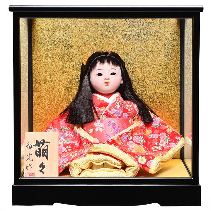 日本全国送料 本物 手数料無料 全品価格保証 ひな人形 国産品 市松人形 6号座市松 さくら柄衣装 :敏光作:ケース入り 萌々 浮世人形