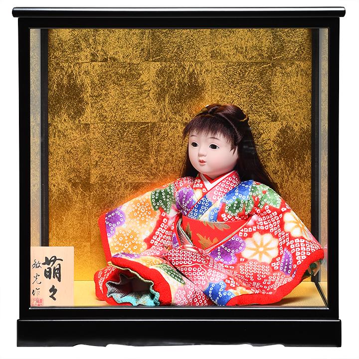 待望 日本全国送料 付与 手数料無料 全品価格保証 ひな人形 市松人形 8号座市松 :敏光作:ケース入り 浮世人形 萌々 金彩衣装