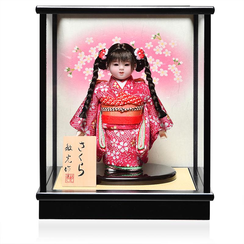 日本全国送料 手数料無料 全品価格保証 送料込 雛人形 ひな人形 三つ編 4号市松人形:縮緬桜花柄衣裳ケース付:敏光作 浮世人形 市松人形 新入荷 流行 :敏光作