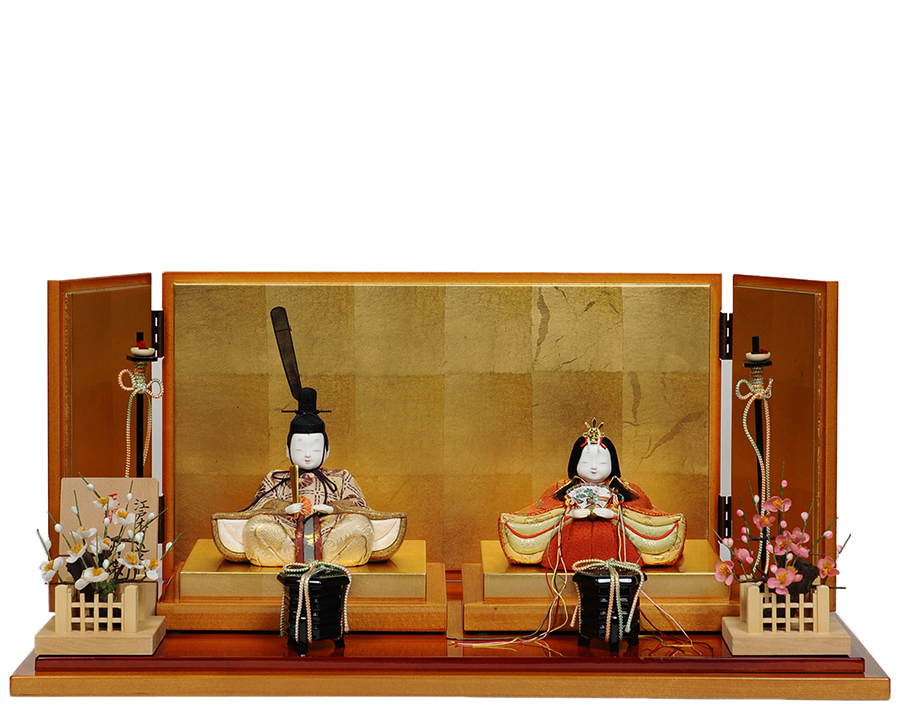 【木目込】木目人形:胡蝶雛:一秀作【木目込親王飾】 【ひな人形】【雛人形】