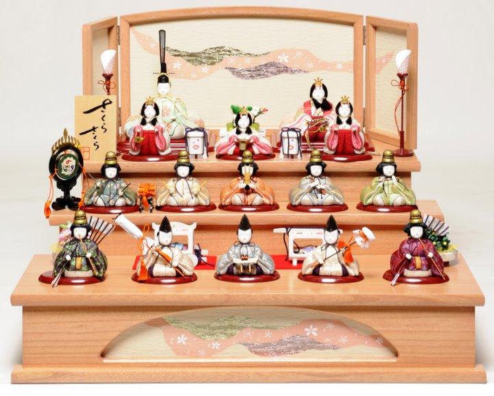 【ひな人形】木目込人形十五人飾:平安雛:木村 一秀作【雛人形】