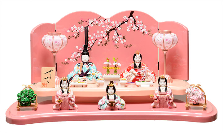 【雛人形】木目込/五人・十五人飾木目込人形:安土雛:一秀作【ひな人形】【木目込】