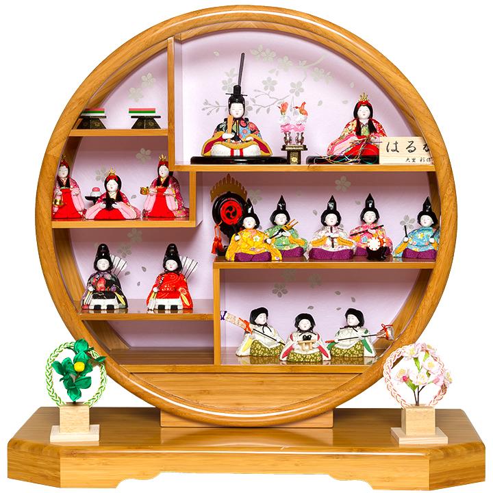 【雛人形】【木目込十五人飾】木目人形:十五人竹飾台:大里彩作【木目込15人飾】【ひな人形】