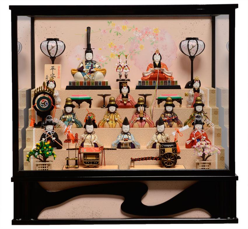 【雛人形】【木目込ケース飾】【木目込十五人飾】木目込人形:平安雛十五人飾:一秀作【ひな人形】