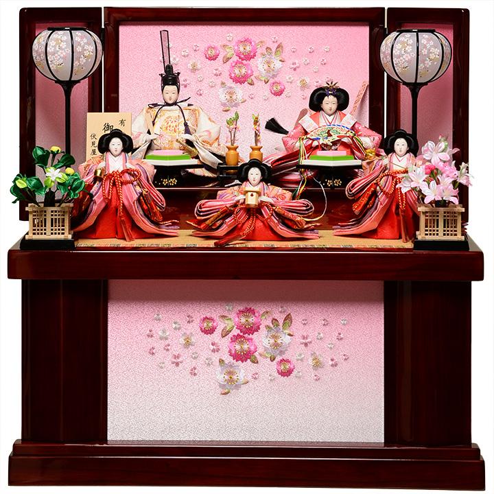 【雛人形収納飾・五人飾】芥子親王小芥子官女:優姫雛:伏見屋監修【雛人形】【親王飾】